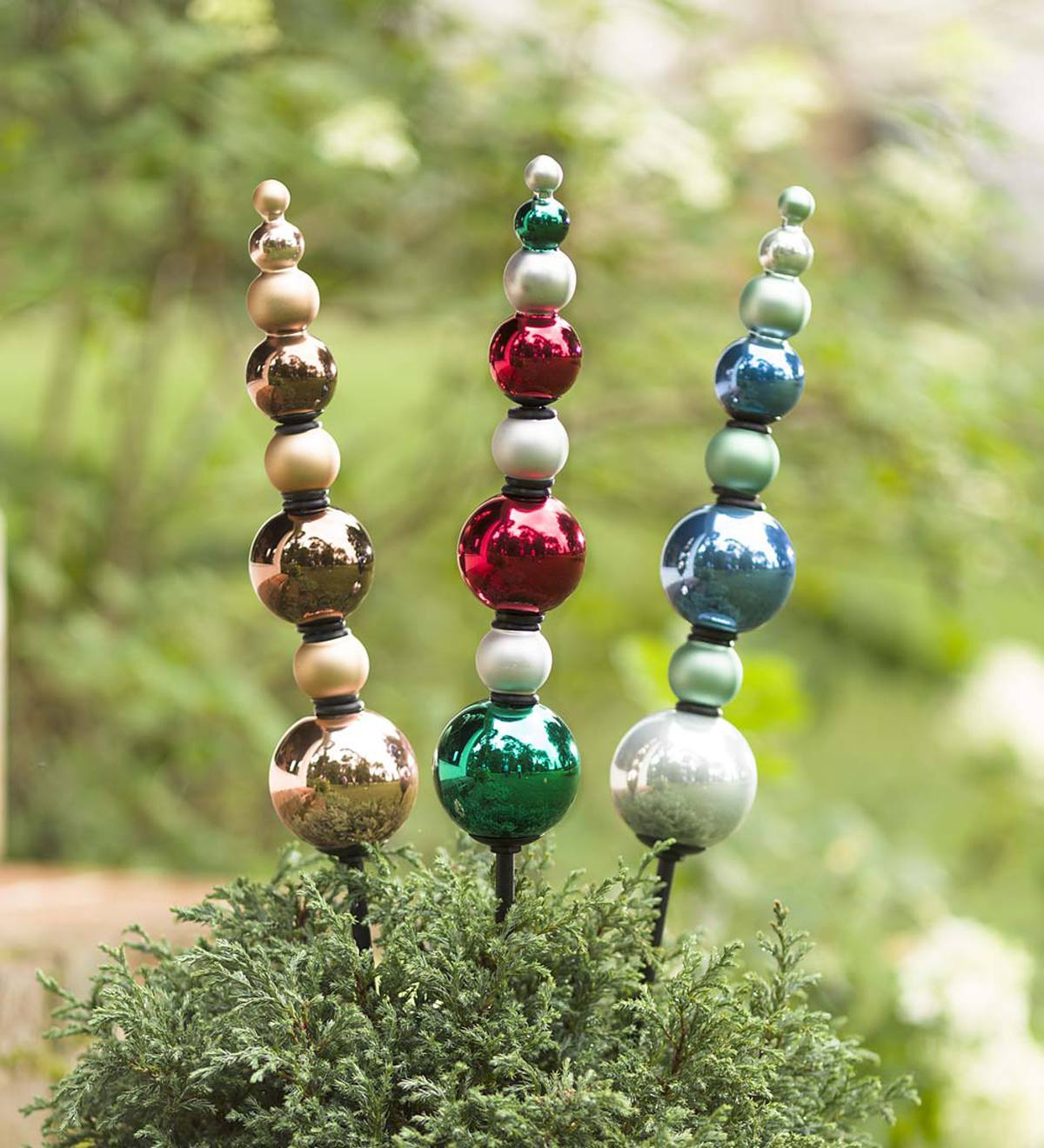 2 in 1 Outdoor Garden Glass Finial Ornaments, Set of 2