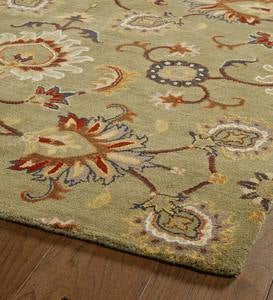 "Lauren Floral Wool Rug, 5' x 7'9"" - Green"