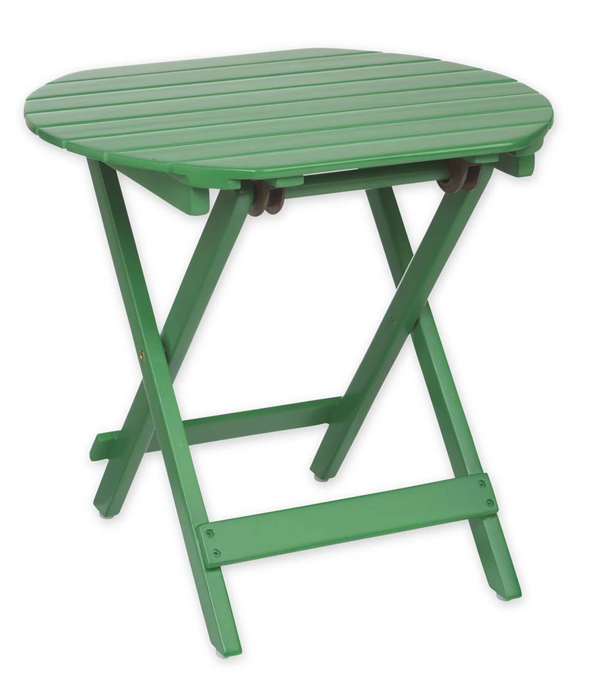 Wooden Adirondack Side Table   Kelly Green Paint