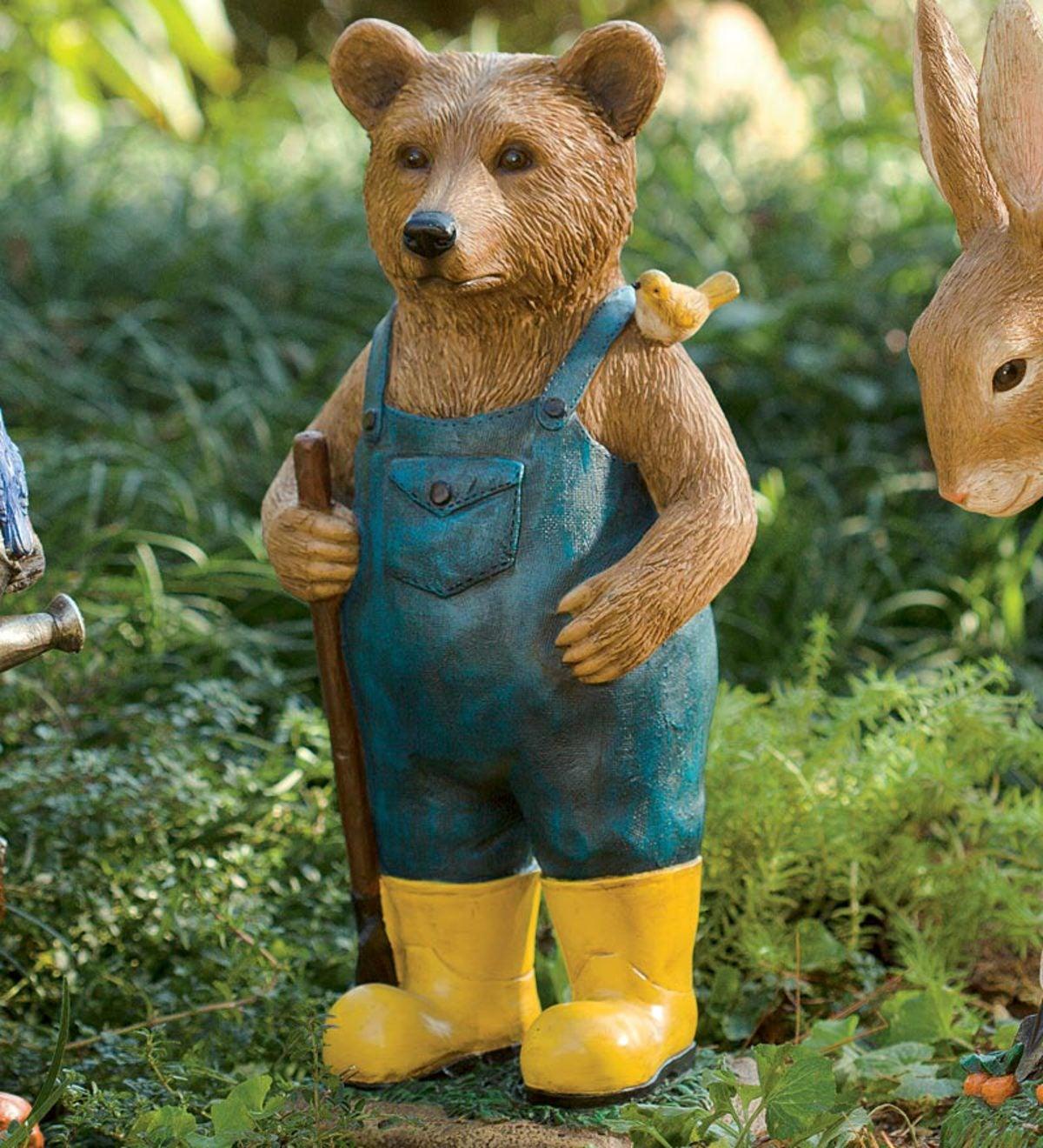 Hand Painted Resin Bear In Overalls Garden Statue