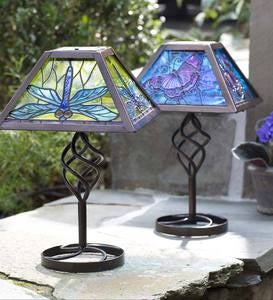 Tiffany Style Solar Outdoor Table Accent Lamp