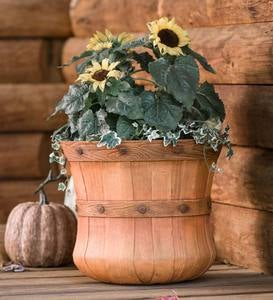 Small Faux Wood Bushel Basket Planter