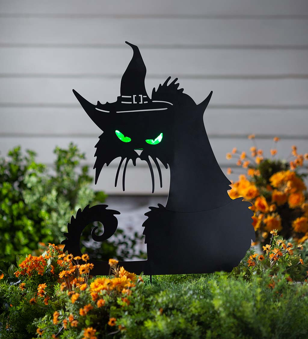Metal Halloween Cat Silhouette Stake With Lighted Eyes
