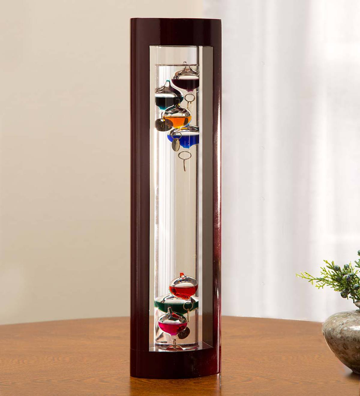 Galileo Thermometer with Wood Frame