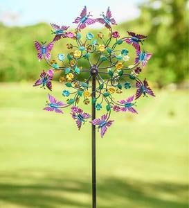 Pink and Purple Butterfly Metal Wind Spinner