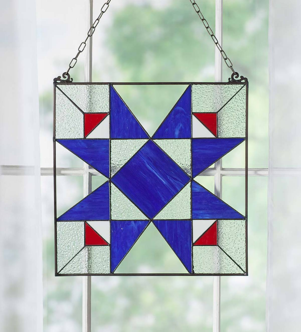 Americana Folk Art Star Stained Glass Panel