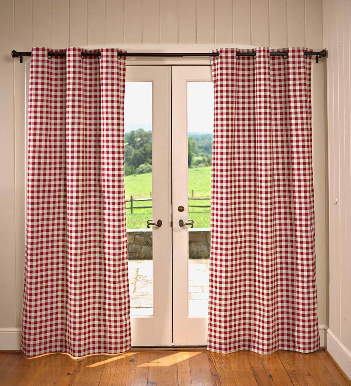 "Thermalogic™ Check Grommet-Top Double-Wide Curtain Pair, 84""L"
