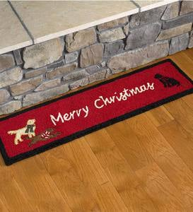 Hooked Wool Merry Christmas Labs Hearth Runner