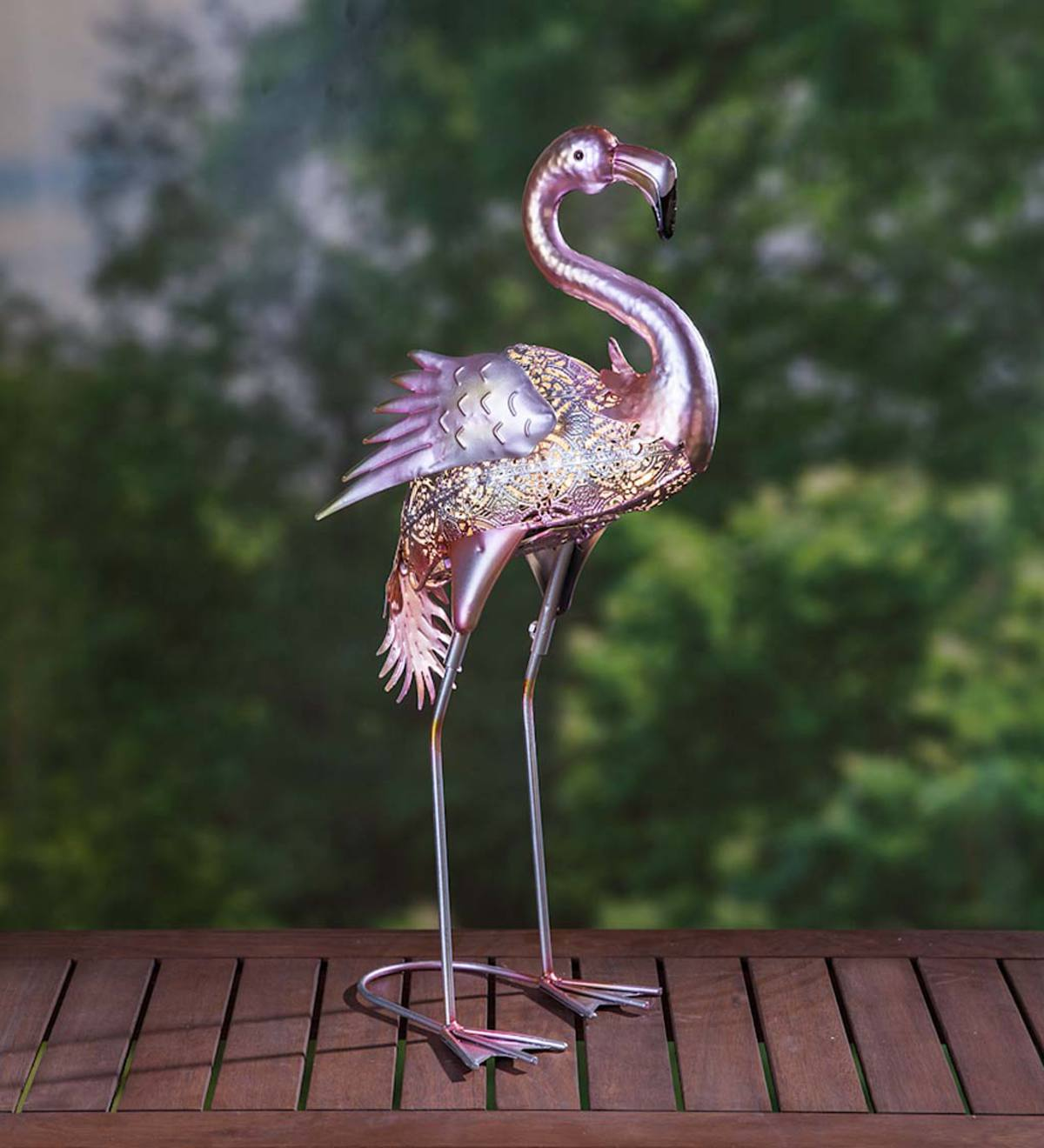 Filigree Metal Lighted Flamingo Garden Statue | Decorative Garden ...