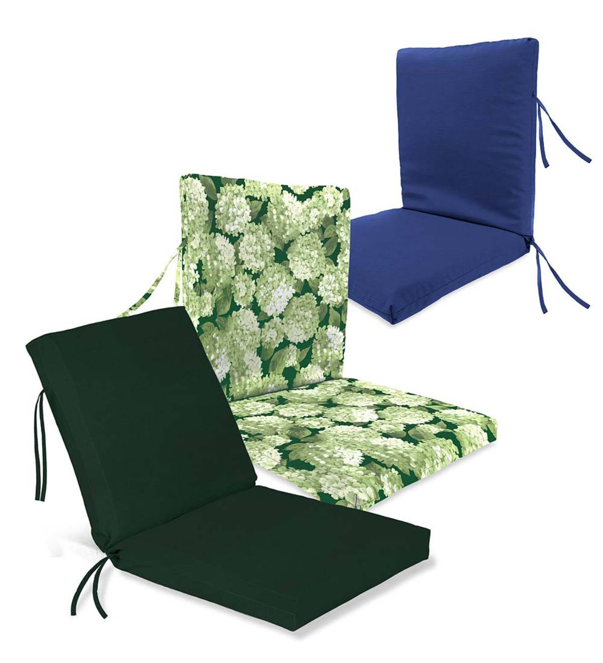 Polyester Classic Chair Cushions, Hinged Design With Ties