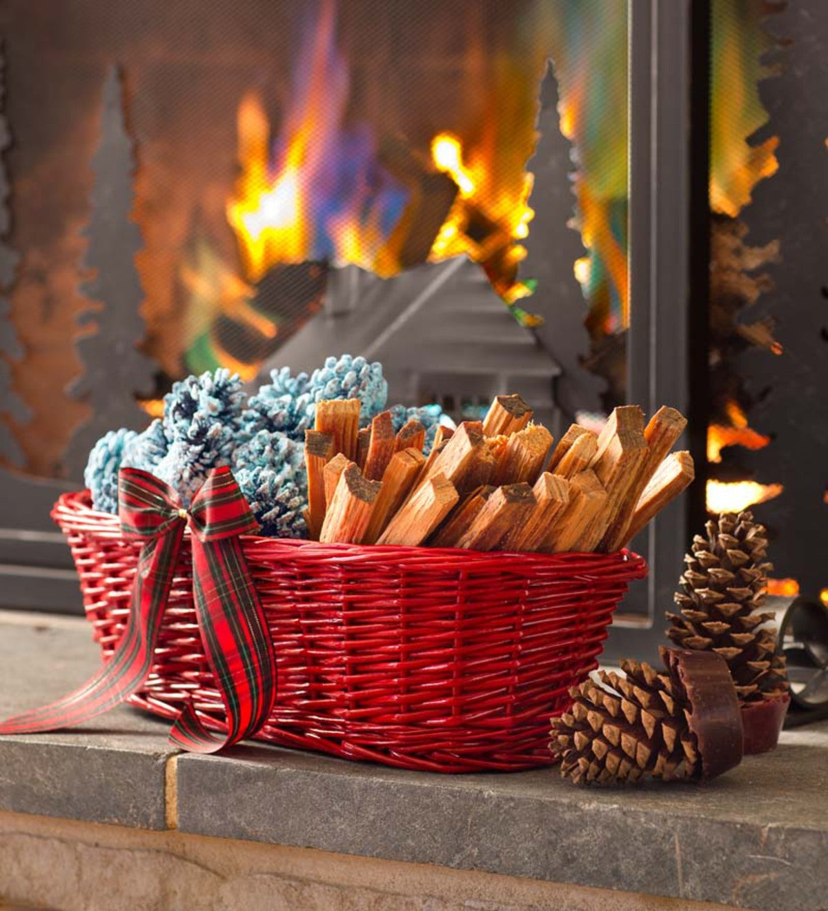 Fireside Gift Basket With Fire Starters