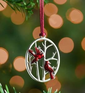 Solid Pewter Christmas Tree Ornament - Cardinals