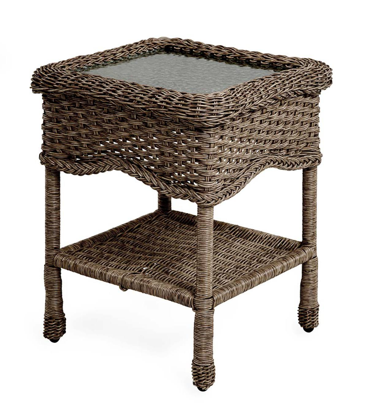Prospect Hill Wicker End Table with Glass Tabletop - Beach House Walnut