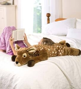 Fuzzy Spotted Fawn Plush Cuddle Animal Body Pillow