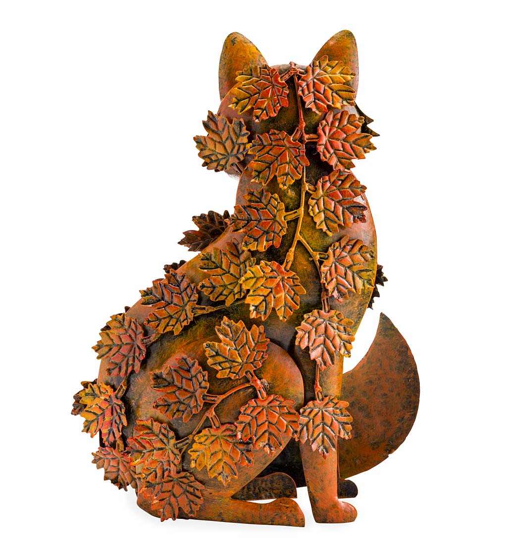 Handmade Metal Fall Leaves Fox Garden Statue