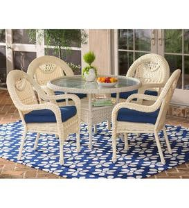 Prospect Hill Wicker Round Dining Table and 4 Chairs Set