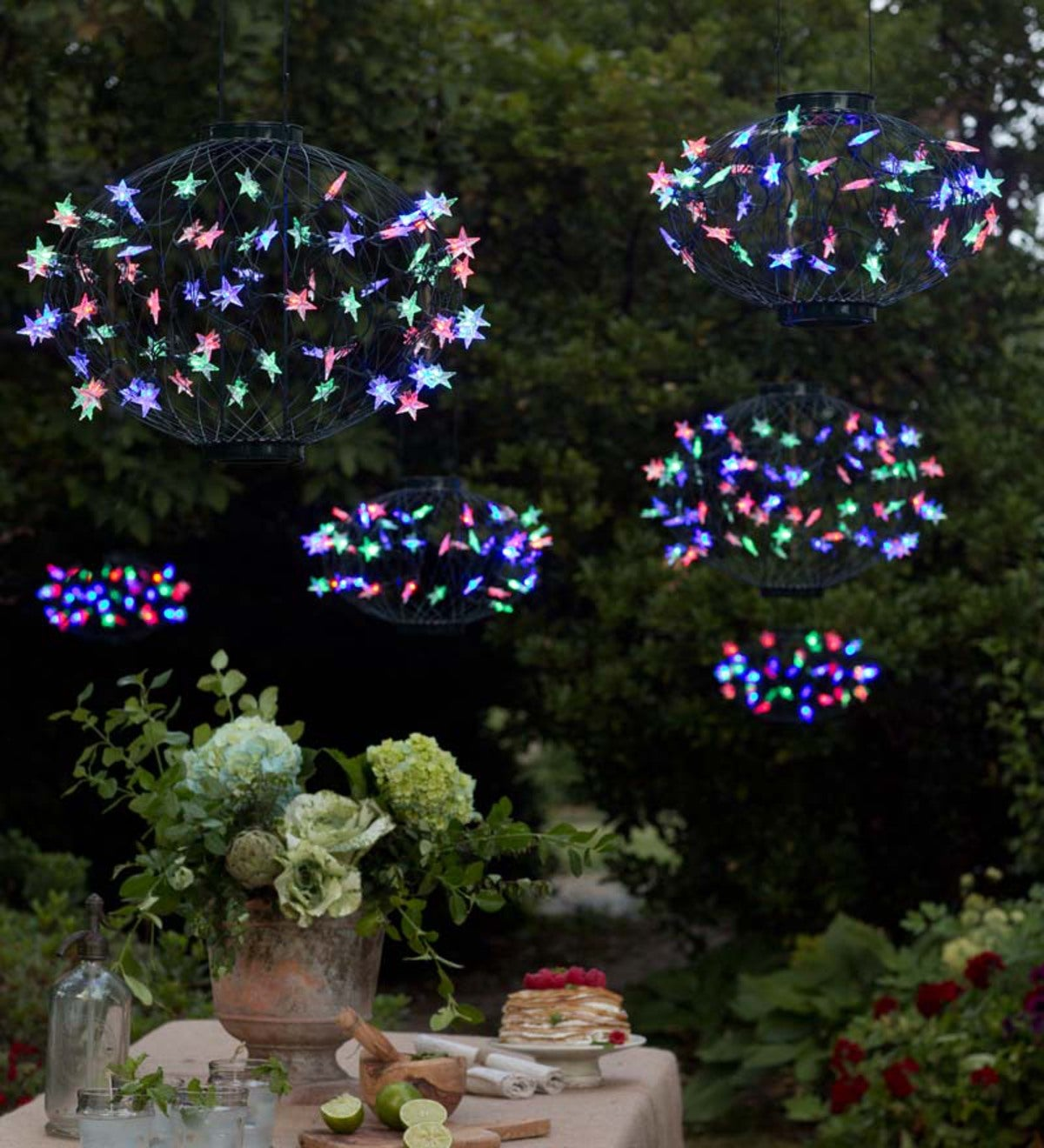 Set Of 3 Solar Star Lanterns With Green Frame Multicolored Lights