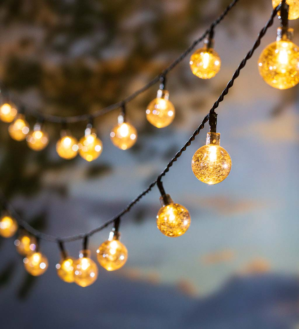 Multi-Function Solar Ball String Lights with 50 Warm White LEDs