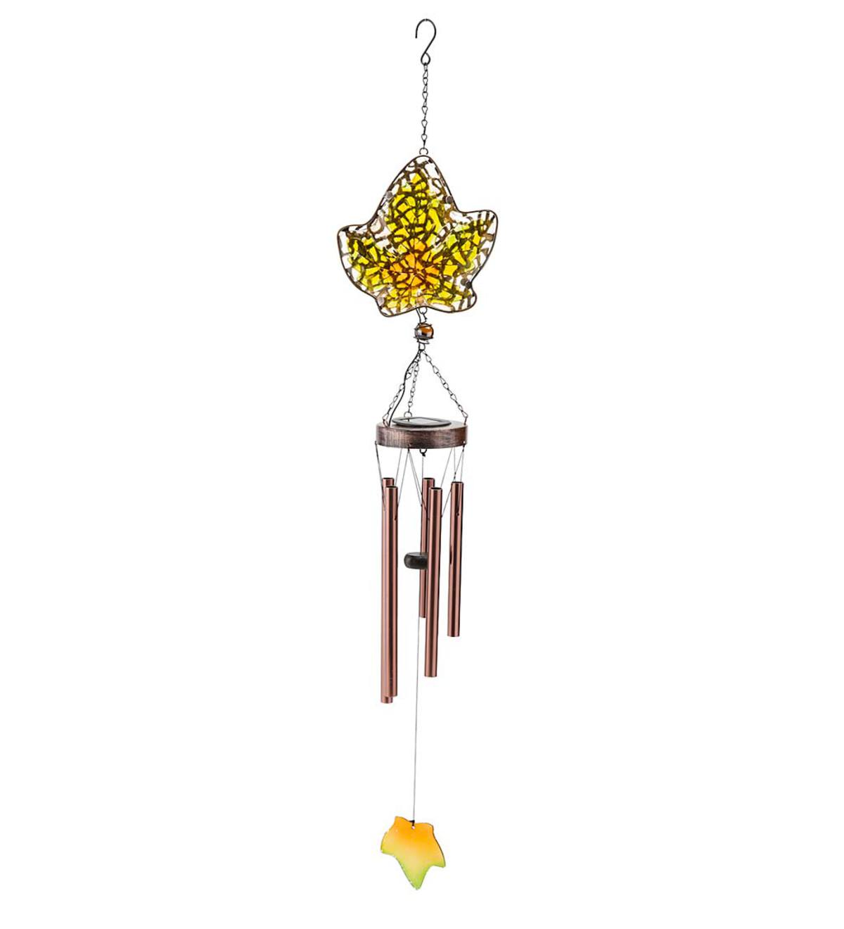 Solar Glass Leaf Wind Chime - Green