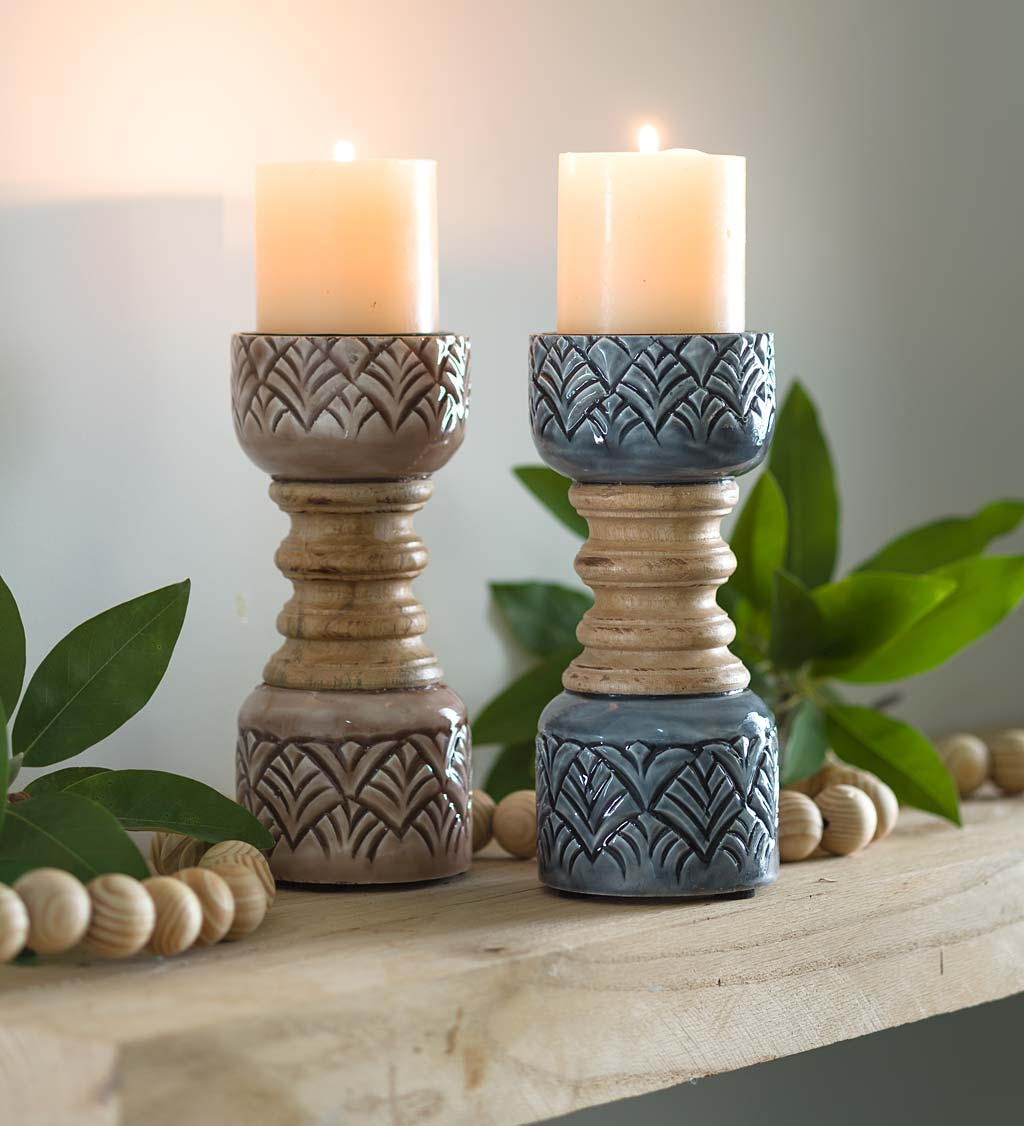 Mango Wood Pillar Candlesticks