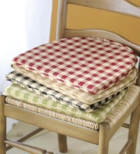 Cotton Check Chair Pad - Red