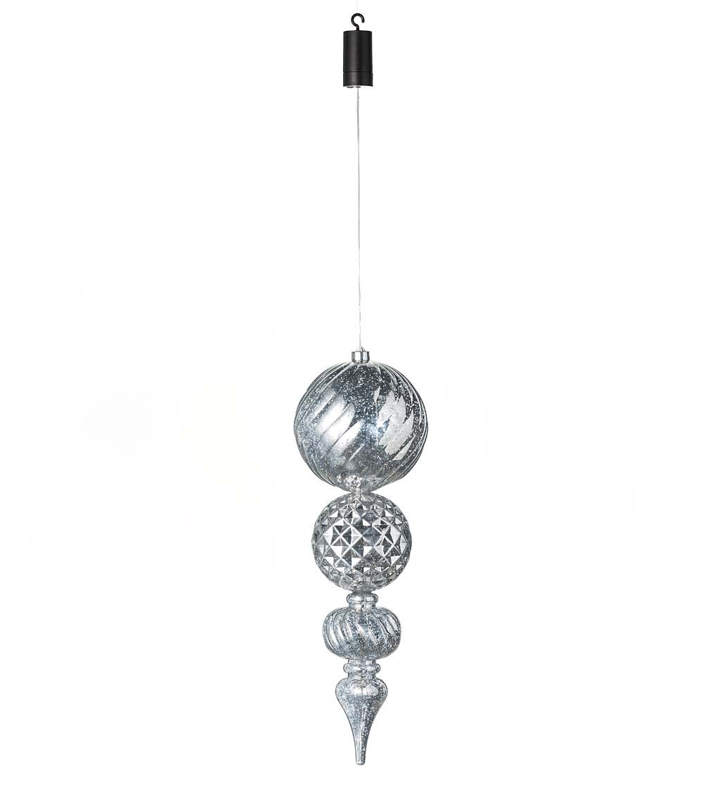 Indoor/Outdoor Shatterproof Holiday Lighted Large Finial Hanging Ornament