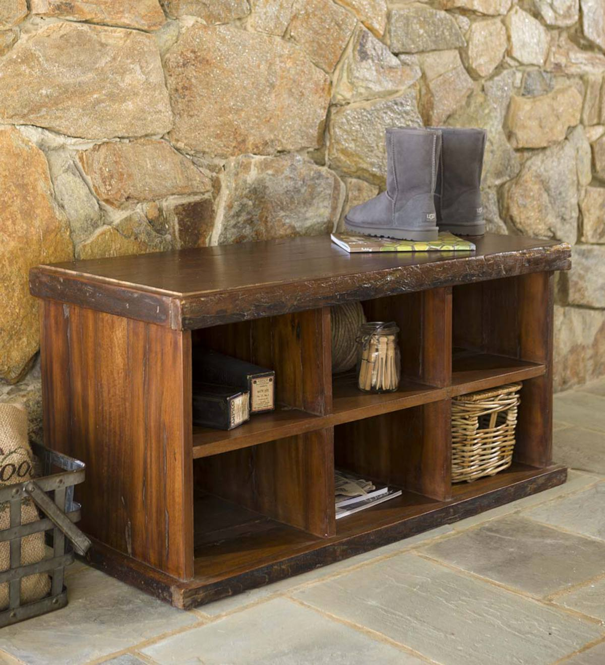 Reclaimed Wood Shoe Storage Bench And Cobbler Coat Rack