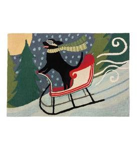 "Indoor/Outdoor Synthetic Blend Dog in a Sleigh Holiday Rug, 24"" x 36"""