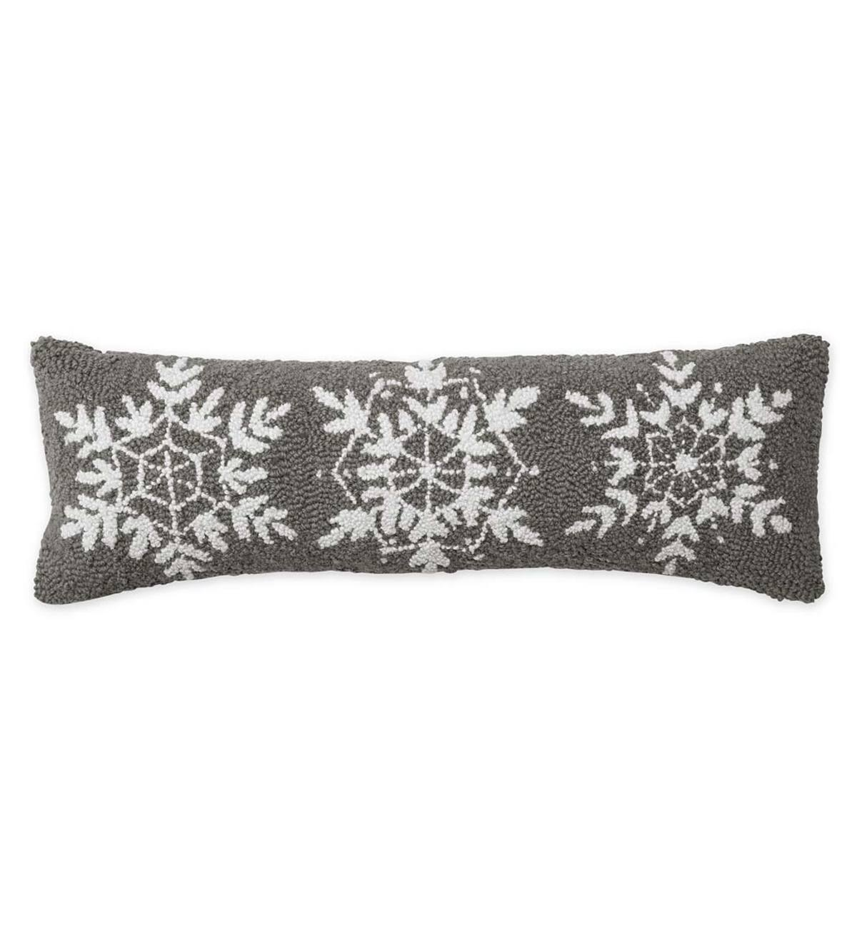 Hand-Hooked Wool Holiday Snowflake Lumbar Throw Pillow