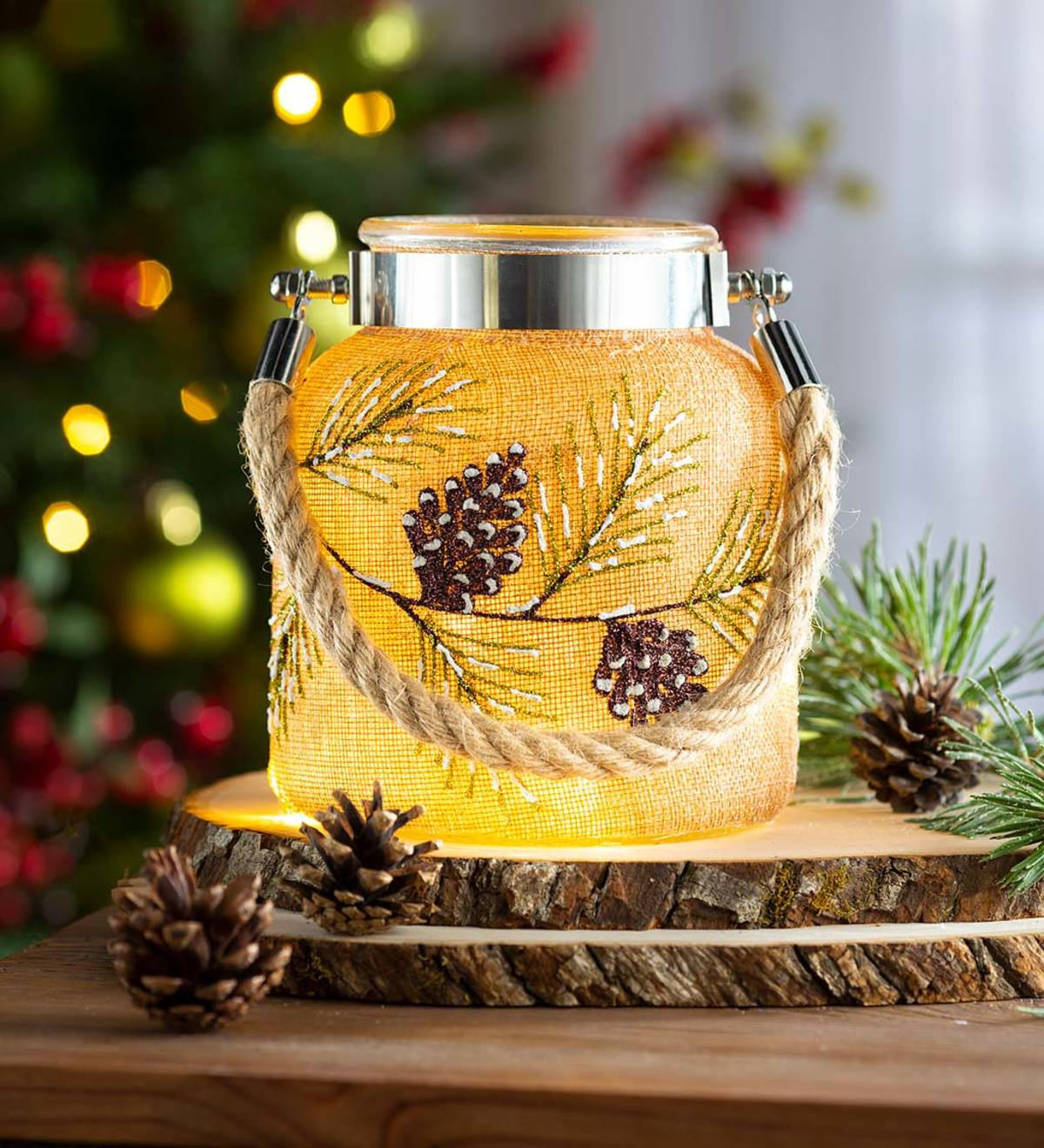 Large Hand-Painted Lighted Holiday Jar with Burlap and Rope Handle