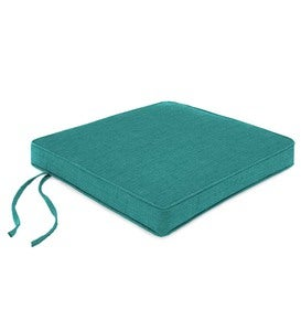 "Polyester Deluxe Chair Cushion With Ties, 19""x 18""x 2½"" - Teal"