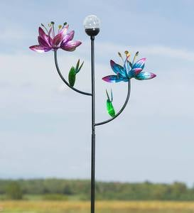 Double Flower Wind Spinner with Solar Ball