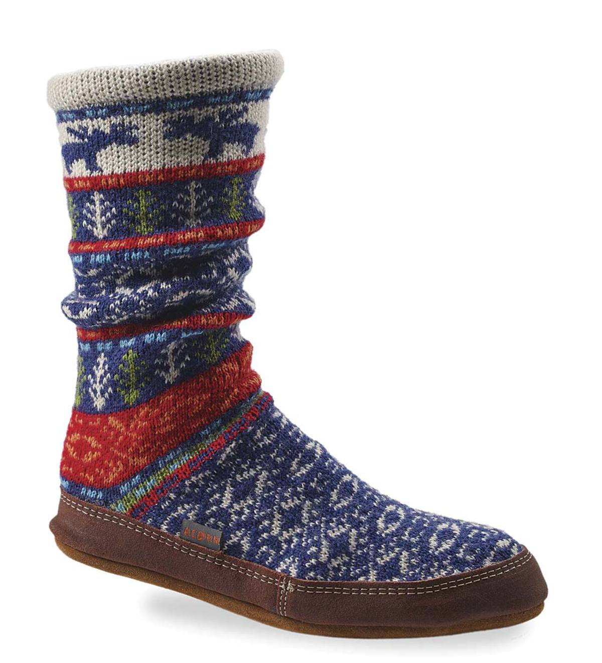 Acorn Slipper Socks in Maine Jacquard