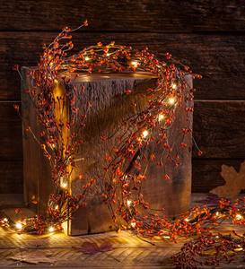 Lighted Autumn Berry Garland