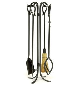 Wrought Iron Hearth Hooks 5-Piece Fireplace Tool Set In Powder-Coated Finish