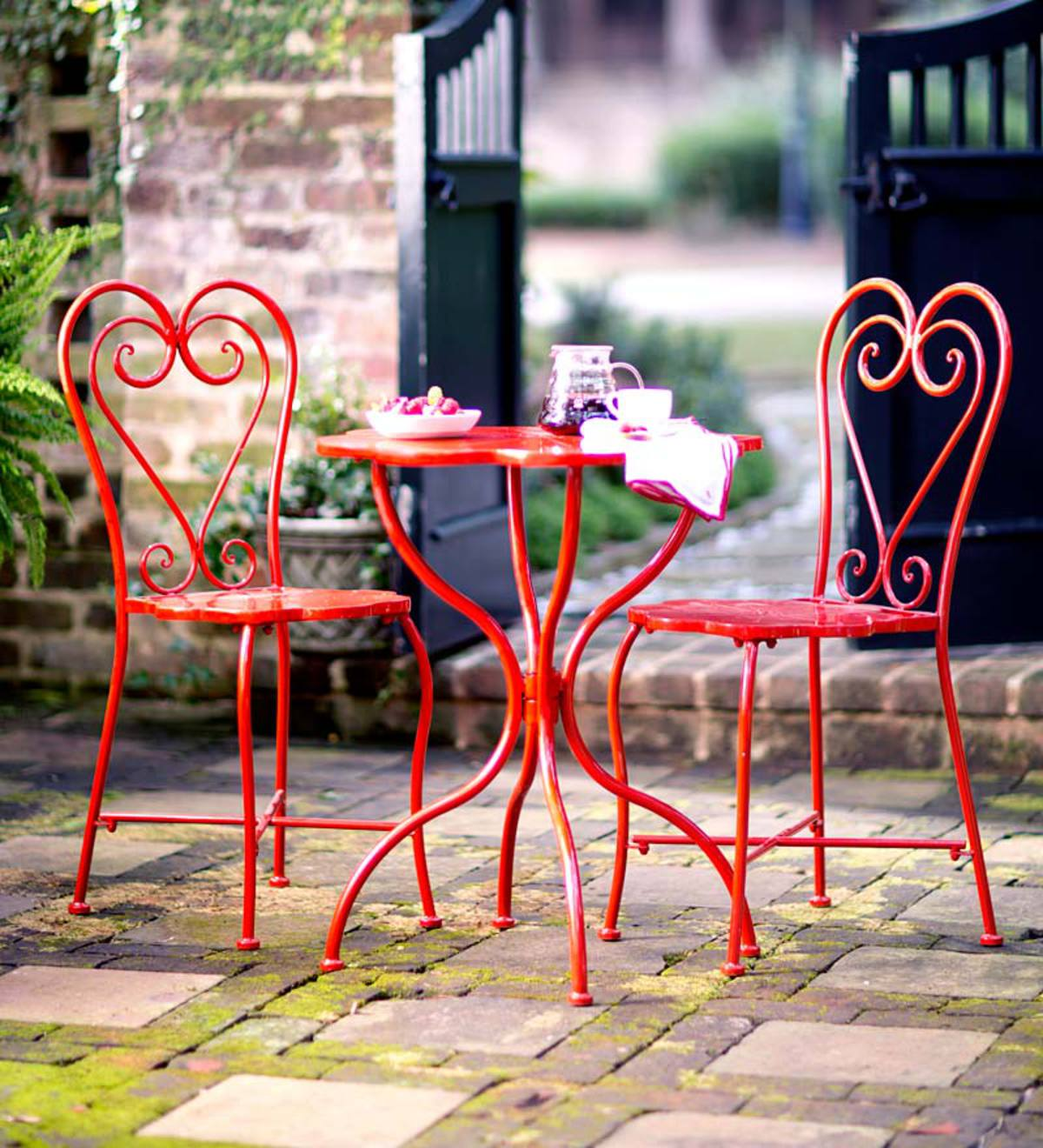 Picture of: Red Metal Bistro Set Plowhearth