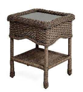 Sale! Prospect Hill Wicker End Table with Glass Tabletop