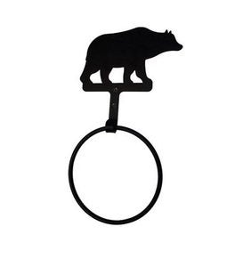 USA-Made Wrought Iron Decorative Towel Ring - Bear