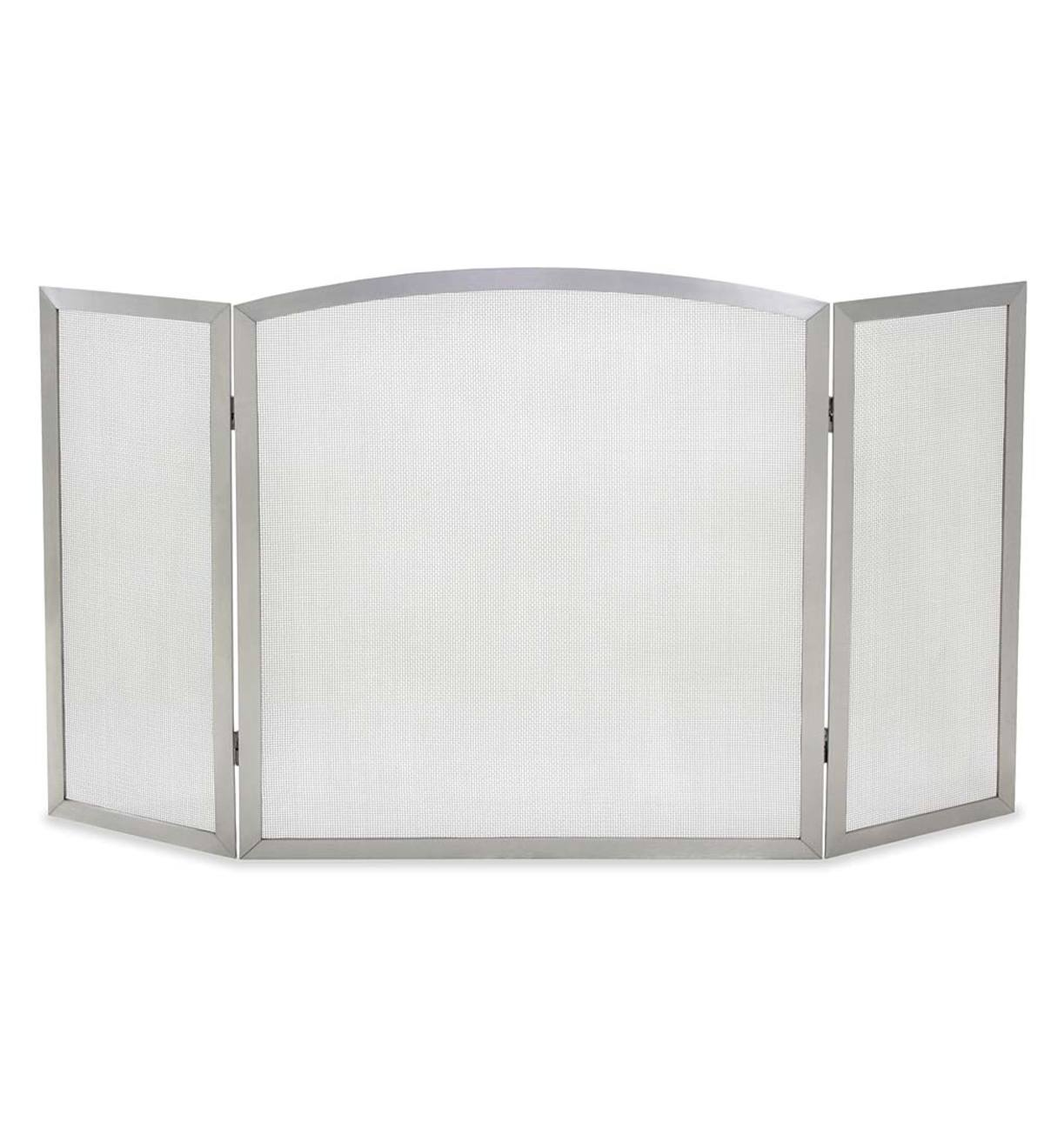 Stainless Steel Newport Tri-Folding Fireplace Screen