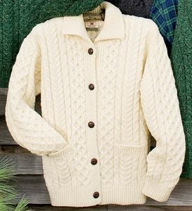 Women's Irish Fishermen's Cable Knit Wool Cardigan with Collar