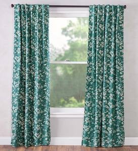 "Floral Damask Rod-Pocket Homespun Insulated Curtain Panel, 42""W x 63""L"