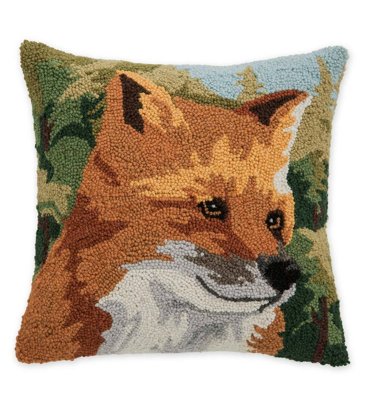Fox Hand-Hooked Wool Throw Pillow