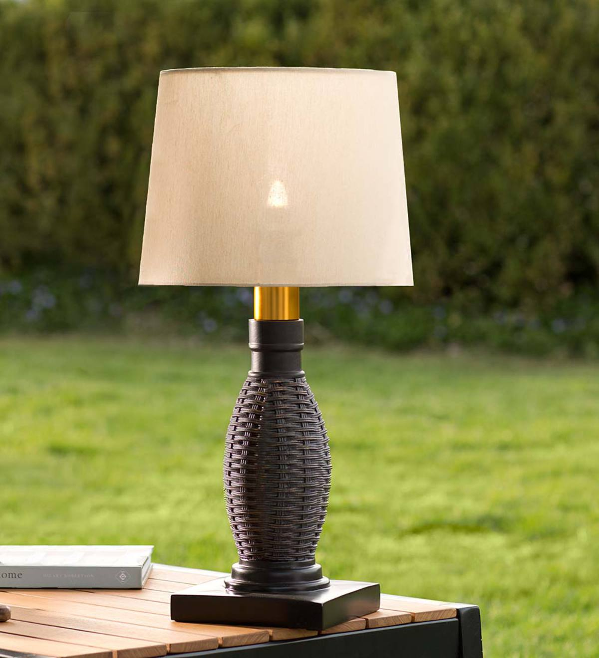 Picture of: Outdoor Wicker Table Lamp With Removable Battery Operated Torch Plowhearth