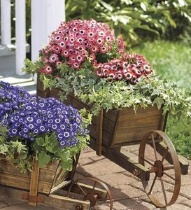 Large Decorative Wood Wheelbarrow Planter Plowhearth