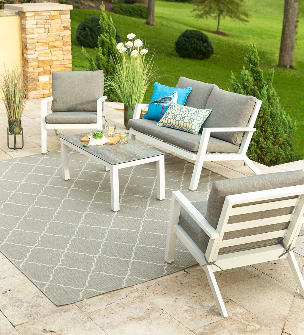 Green Spring Aluminum 4-Piece Outdoor Seating Set with Cushions