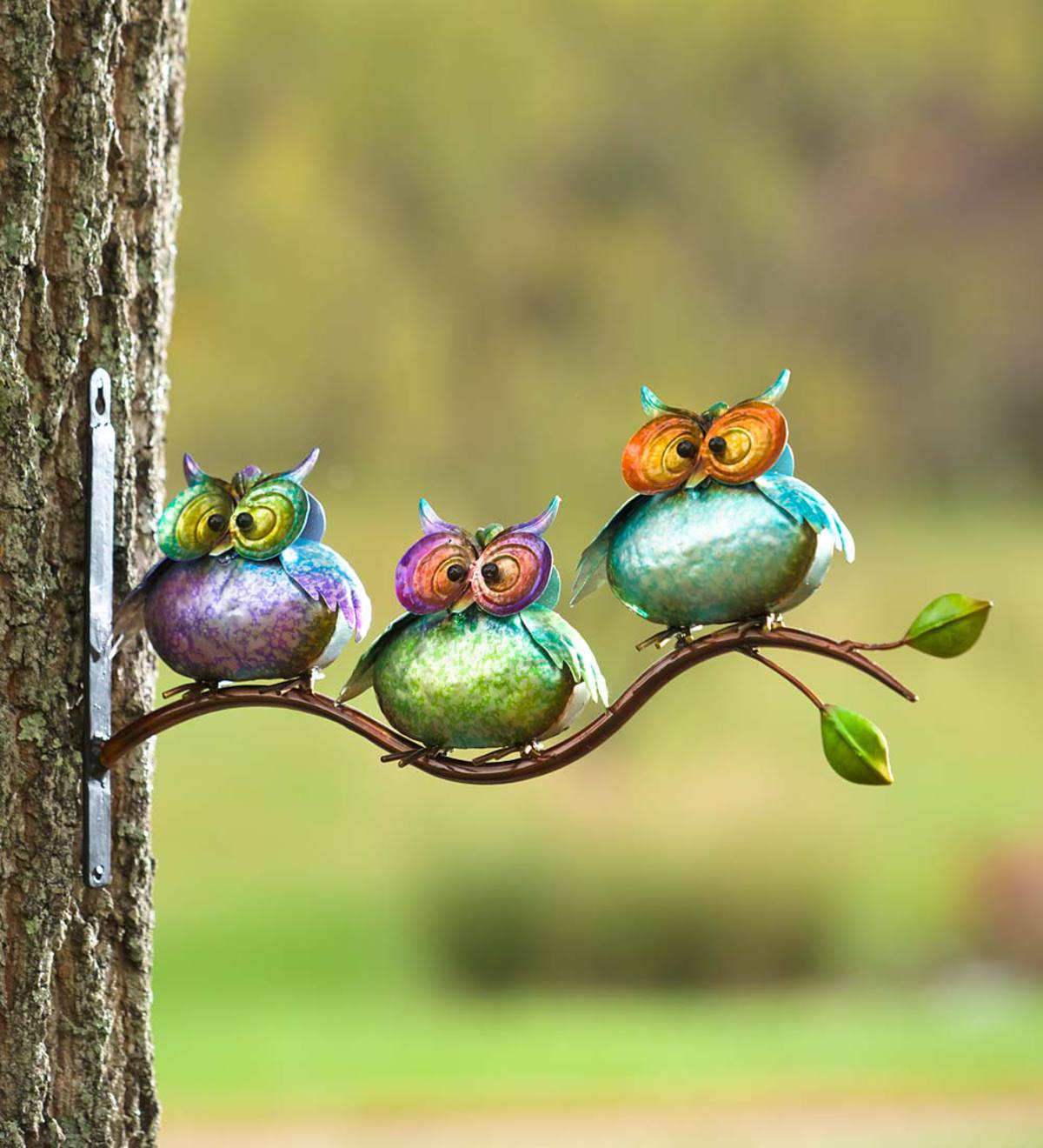 3 Metal Owls on Branch Wall Art | Colorful Patio | PlowHearth