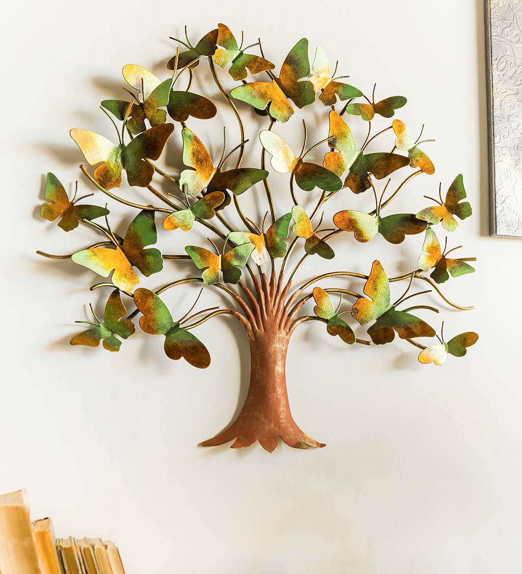 Metal Butterfly Tree of Life Wall Art