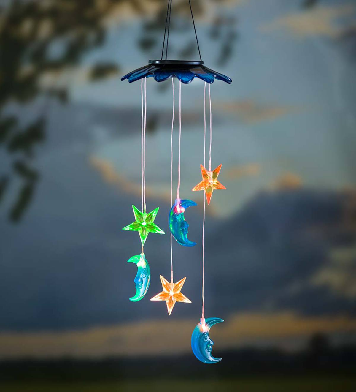 Color Changing Solar Mobile with Moons and Stars
