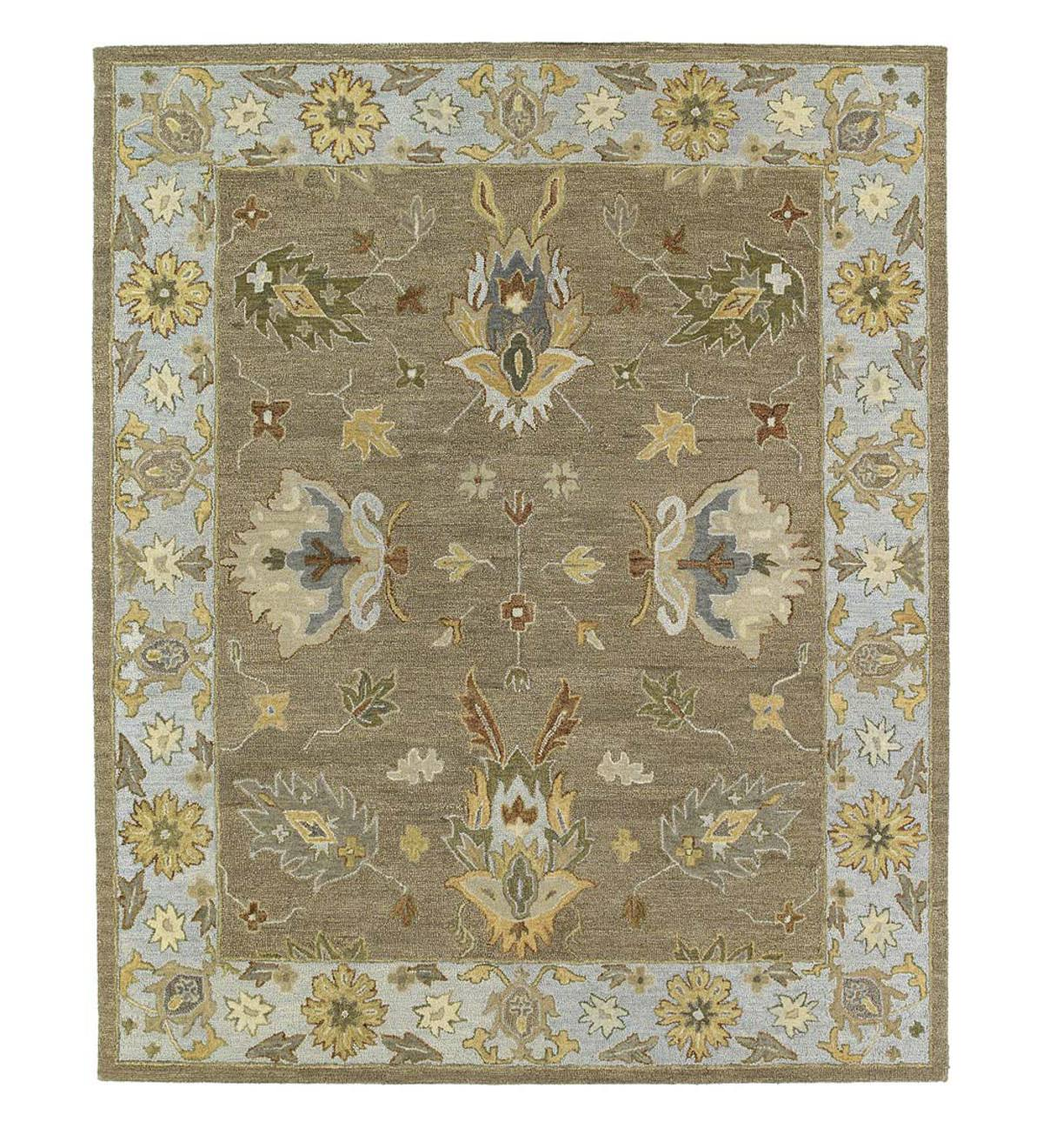 Baroque Border Tan Wool Rugs