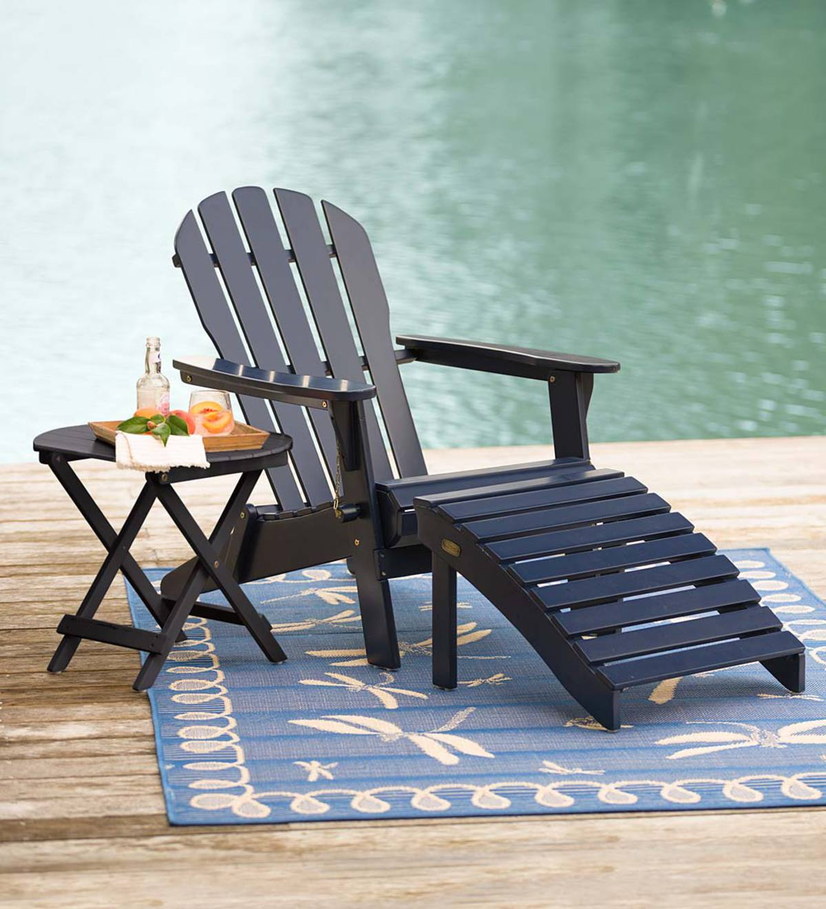 Wooden Adirondack Chair and Ottoman